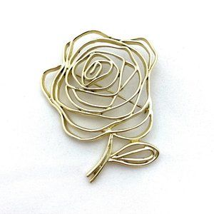 Jewelry - Openwork Rose Brooch Flower Wirework Pin Gold Tone